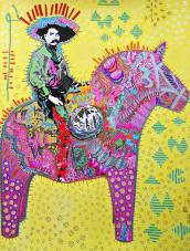 Loana Ibarra's Emiliano Zapata rides Dala horse - mix on paper - Embroidery - silver and gold details 50cmx65cm